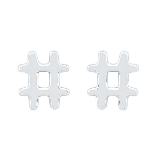 10K White Gold 7mm Stud Earrings