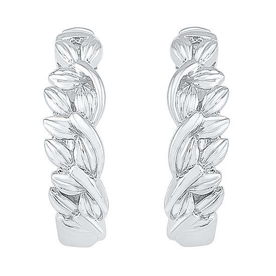 10K White Gold 15.1mm Hoop Earrings