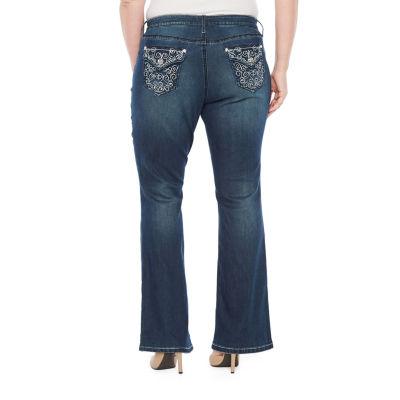Boutique + Embellished Back Pocket Bootcut Jean – Plus