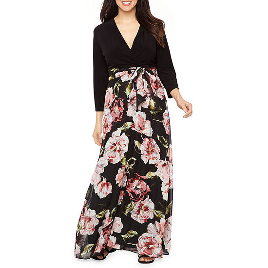be by chetta b 3 4 sleeve floral maxi dress jcpenney