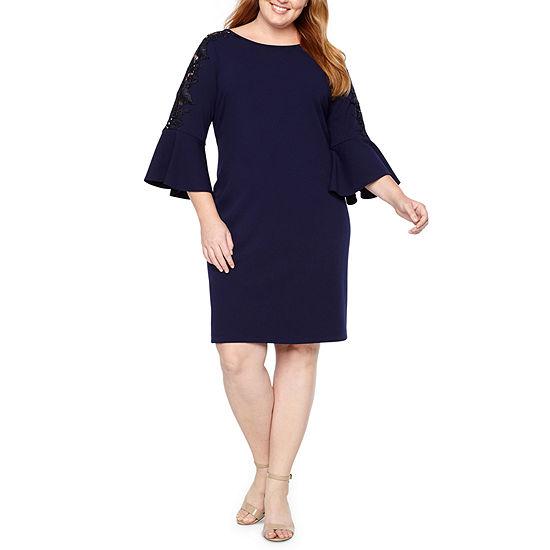 Ronni Nicole 3/4 Sleeve Applique Sheath Dress - Plus