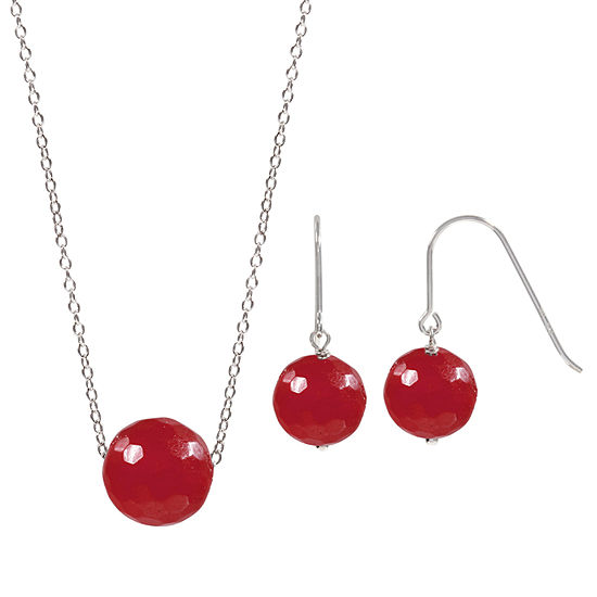 Genuine Red Agate Sterling Silver 2-pc. Jewelry Set