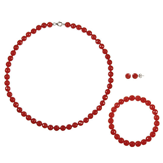 Genuine Red Agate Sterling Silver 3-pc. Jewelry Set