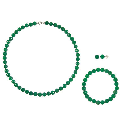 Genuine Green Agate Sterling Silver 3-pc. Jewelry Set