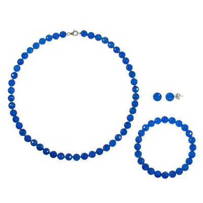 Genuine Blue Agate Sterling Silver 3-pc. Jewelry Set
