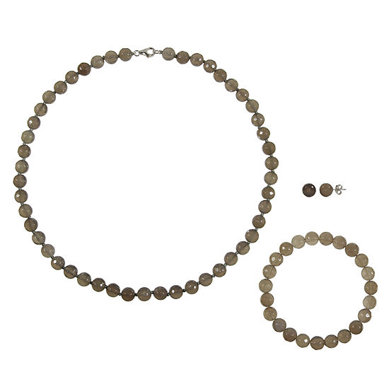 Genuine Gray Agate Sterling Silver 3-pc. Jewelry Set