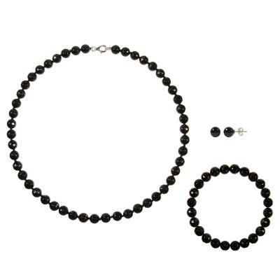 Genuine Black Agate Sterling Silver 3-pc. Jewelry Set