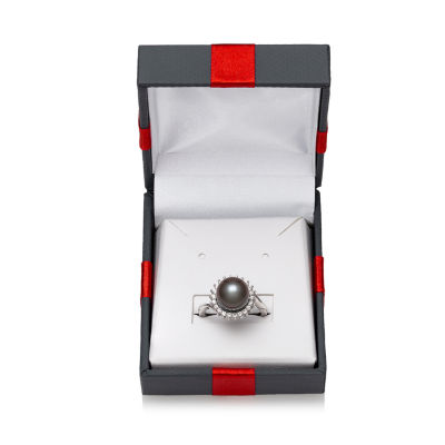 Womens 9.5M Black Cultured Tahitian Pearl Sterling Silver Cocktail Ring