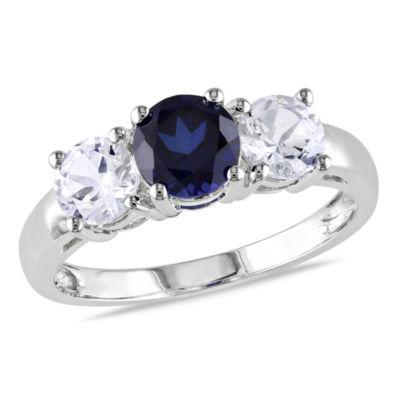 Modern Bride Gemstone Womens Lab Created Blue Sapphire 10K White Gold Engagement Ring