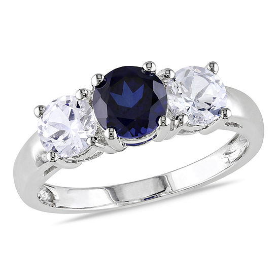 Modern Bride Gemstone Womens Lab Created Blue Sapphire 10K White Gold Engagement Ring