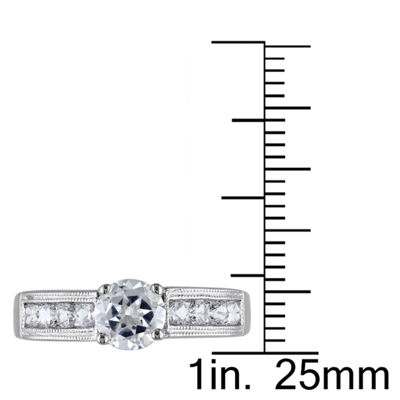 Modern Bride Gemstone Womens Lab Created White Sapphire Sterling Silver Engagement Ring