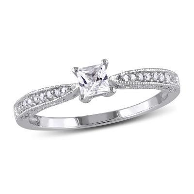 Modern Bride Gemstone Womens Diamond Accent Lab Created White Sapphire Engagement Ring