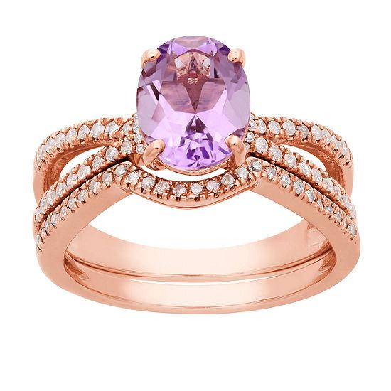 Modern Bride Gemstone Womens 1/3 CT. T.W. Genuine Pink Amethyst 10K Rose Gold Bridal Set