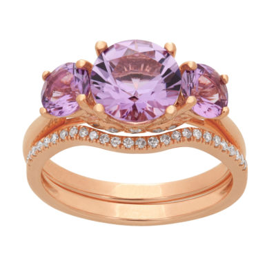 Modern Bride Gemstone Womens 1/6 CT. T.W. Genuine Pink Amethyst 10K Rose Gold Bridal Set
