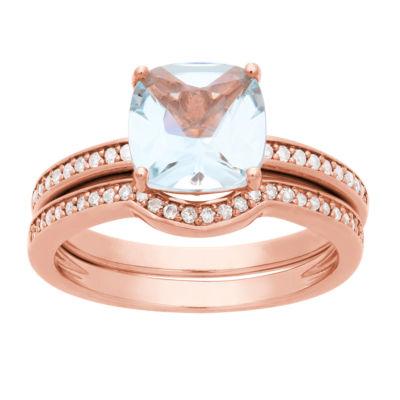 Modern Bride Gemstone Womens 1/5 CT. T.W. Genuine Blue Aquamarine 10K Rose Gold Bridal Set