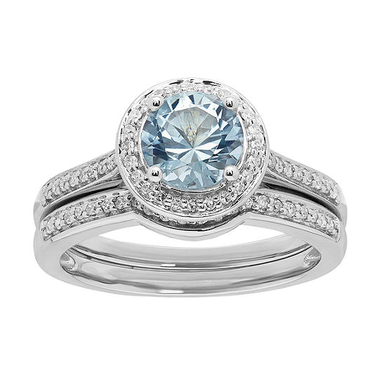 Modern Bride Gemstone Womens 1/4 CT. T.W. Genuine Blue Aquamarine 10K White Gold Bridal Set