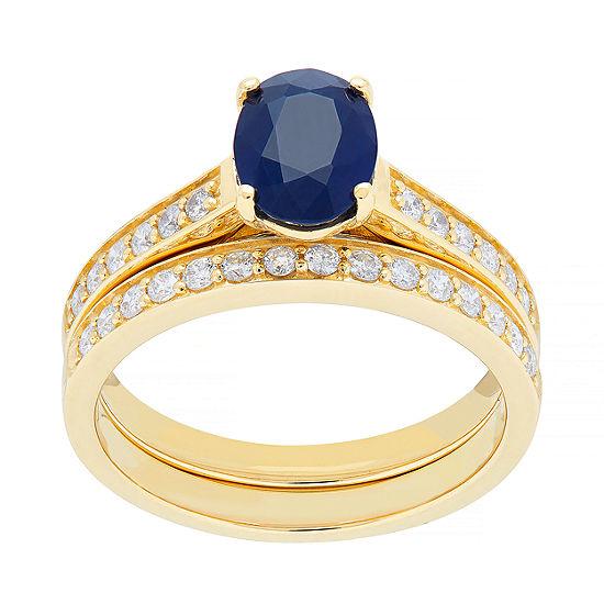 Modern Bride Gemstone Womens 3/8 CT. T.W. Genuine Purple Sapphire 10K Gold Bridal Set