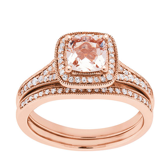 Modern Bride Gemstone Womens 1/4 CT. T.W. Genuine Pink Morganite 10K Rose Gold Bridal Set