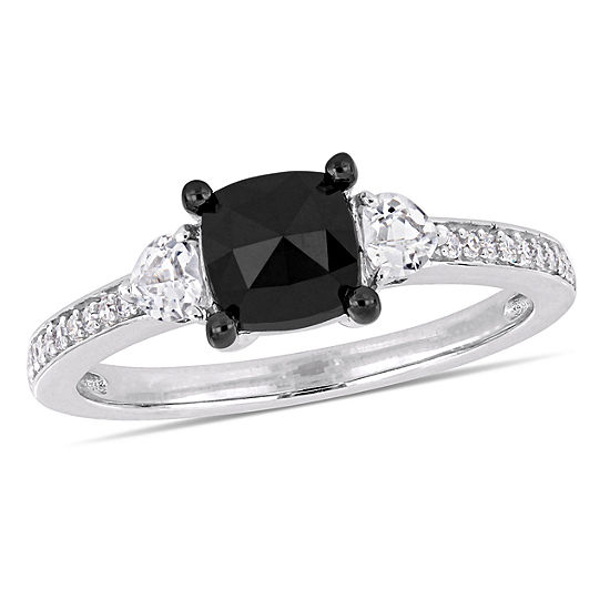 Modern Bride Gemstone Womens 1 1/10 CT. T.W.  Genuine Black Diamond 10K White Gold Engagement Ring
