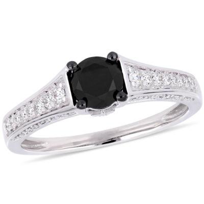Womens 1 CT. T.W. Genuine Black Diamond 14K White Gold Engagement Ring