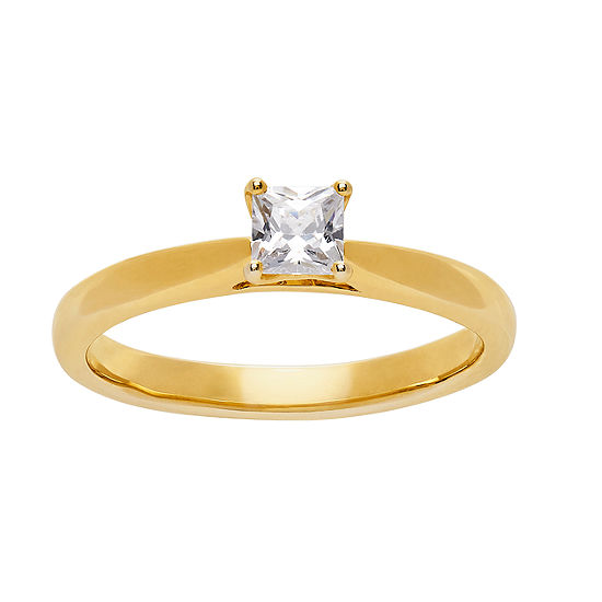 Grown With Love Womens 1/2 CT. T.W. Lab Grown White Diamond 14K Gold Square Solitaire Engagement Ring