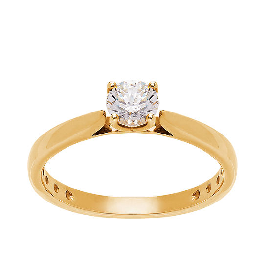Grown With Love Womens 1/2 CT. T.W. Lab Grown White Diamond 14K Gold Round Solitaire Engagement Ring