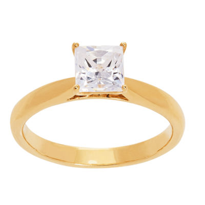 Grown With Love Womens 1 CT. T.W. Lab Grown White Diamond 14K Gold Square Solitaire Ring