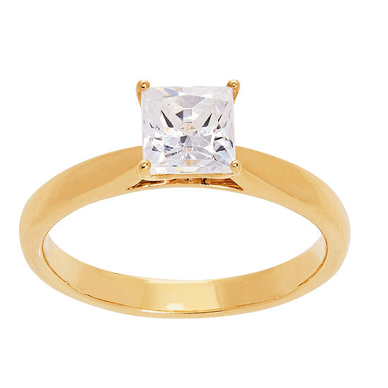 Grown With Love Womens 1 CT. T.W. Lab Grown White Diamond 14K Gold Square Solitaire Engagement Ring