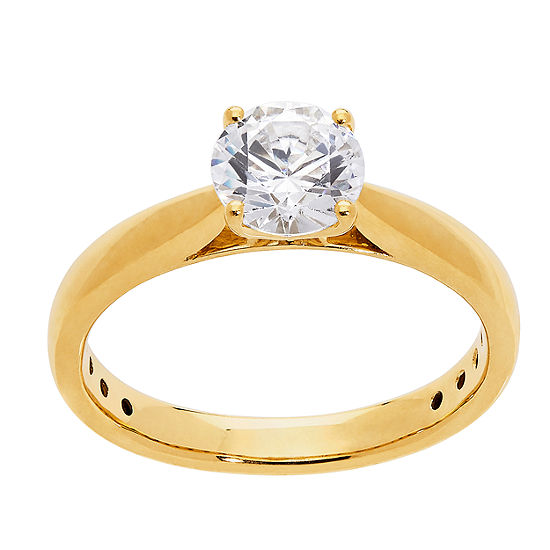 Grown With Love Womens 1 CT. T.W. Lab Grown White Diamond 14K Gold Round Solitaire Engagement Ring