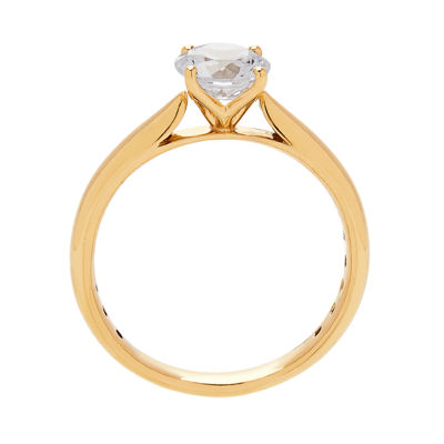 Grown With Love Womens 1 CT. T.W. Lab Grown White Diamond 14K Gold Round Solitaire Ring