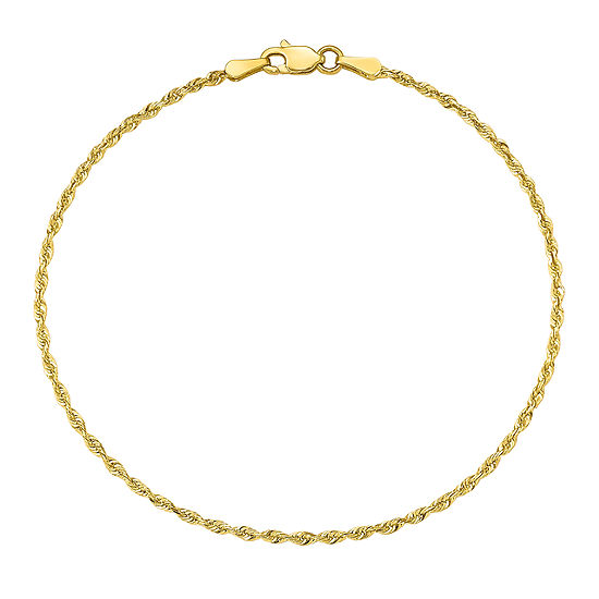 10K Gold 9 Inch Solid Rope Chain Bracelet