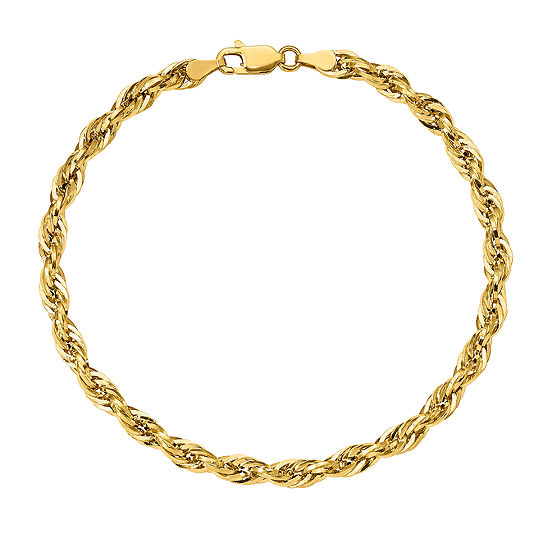 14K Gold 7 Inch Hollow Rope Chain Bracelet