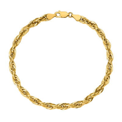 14K Gold 8 Inch Hollow Rope Chain Bracelet
