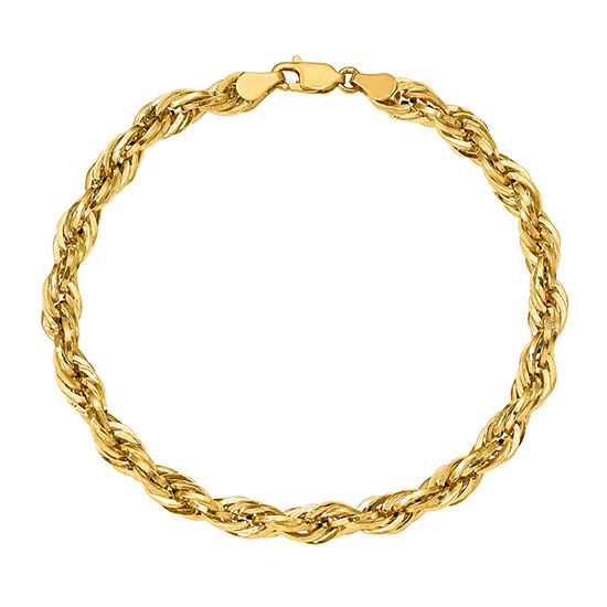 14K Gold 8 Inch Semisolid Rope Chain Bracelet