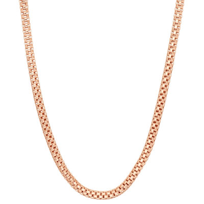 14K Rose Gold Over Silver 16 Inch Solid Link Chain Necklace