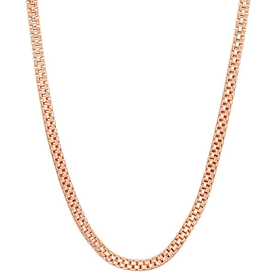 14K Rose Gold Over Silver 24 Inch Solid Link Chain Necklace