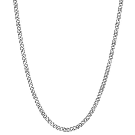 Sterling Silver 18 Inch Solid Curb Chain Necklace