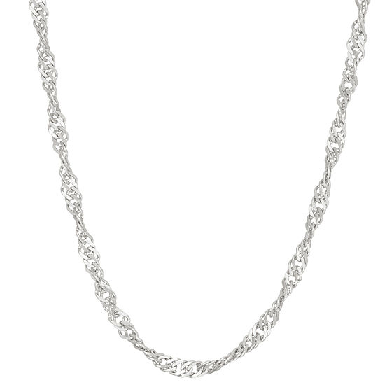 Sterling Silver 24 Inch Solid Link Chain Necklace