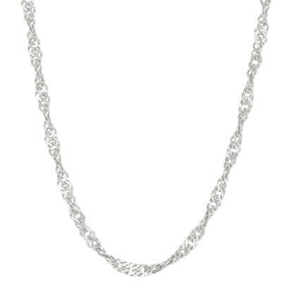 Sterling Silver 16 Inch Solid Link Chain Necklace