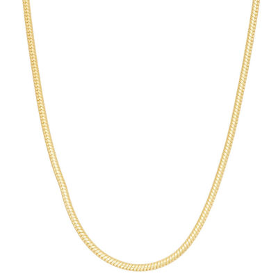 14K Gold Over Silver 18 Inch Solid Snake Chain Necklace