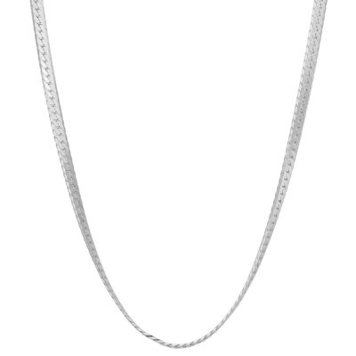 Sterling Silver 18 Inch Solid Herringbone Chain Necklace
