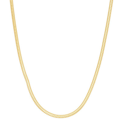 14K Gold Over Silver 24 Inch Solid Snake Chain Necklace