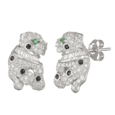 2 CT. T.W. White Cubic Zirconia Sterling Silver 16.5mm Panther Stud Earrings