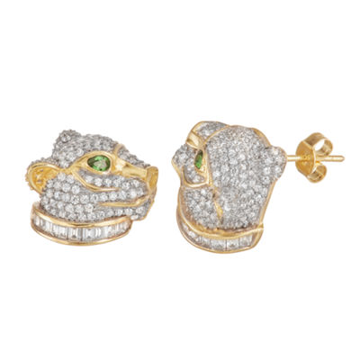 4 1/2 CT. T.W. White Cubic Zirconia 14K Two Tone Gold Over Silver 14mm Stud Earrings
