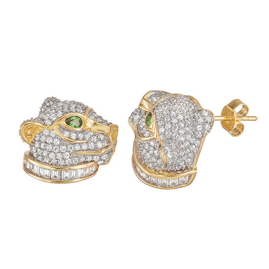 4 1/2 CT. T.W. White Cubic Zirconia 14K Two Tone Gold Over Silver 14mm Panther Stud Earrings
