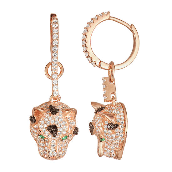 3 1/2 CT. T.W. White Cubic Zirconia 14K Rose Gold Over Silver Panther Drop Earrings
