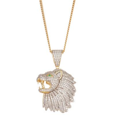Men's 4 CT. T.W. Cubic Zirconia 14K Two Tone Gold Over Silver Lion Pendant Necklace