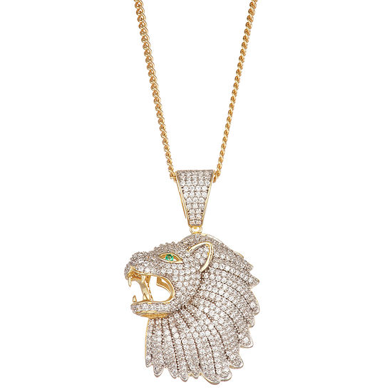 Men's 4 CT. T.W. Cubic Zirconia 14K Two Tone Gold Over Silver Lion Pendant Necklace