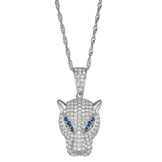 Womens 3 3/4 CT. T.W. Cubic Zirconia Sterling Silver Panther Pendant Necklace