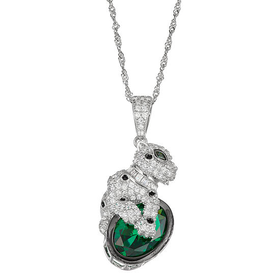 Womens Cubic Zirconia Sterling Silver Panther Pendant Necklace